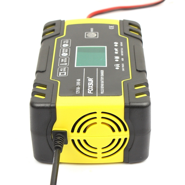FFYY-Foxsur 12V 8A 24V 4A Pulse Repair Charger with Lcd Display, Motorcycle & Car Battery Charger, 12V 24V Agm Gel Wet Lead Acid