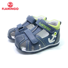 FLAMINGO ฤดูร้อนเด็กรองเท้าหนังพื้นรองเท้าปิดนิ้วเท้ารองเท้าแตะกลางแจ้งสำหรับเด็กขนาด 19 24 FreeShipping 201S XY 1702