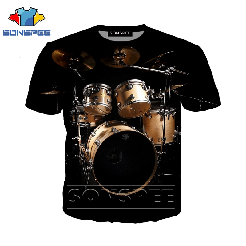 Anime 3d Print Funny Music T Shirt Men Women Fashion T-shirt Drum Set Sexy Kids Harajuku Top Tee Funny Shirts Homme Tshirt A48