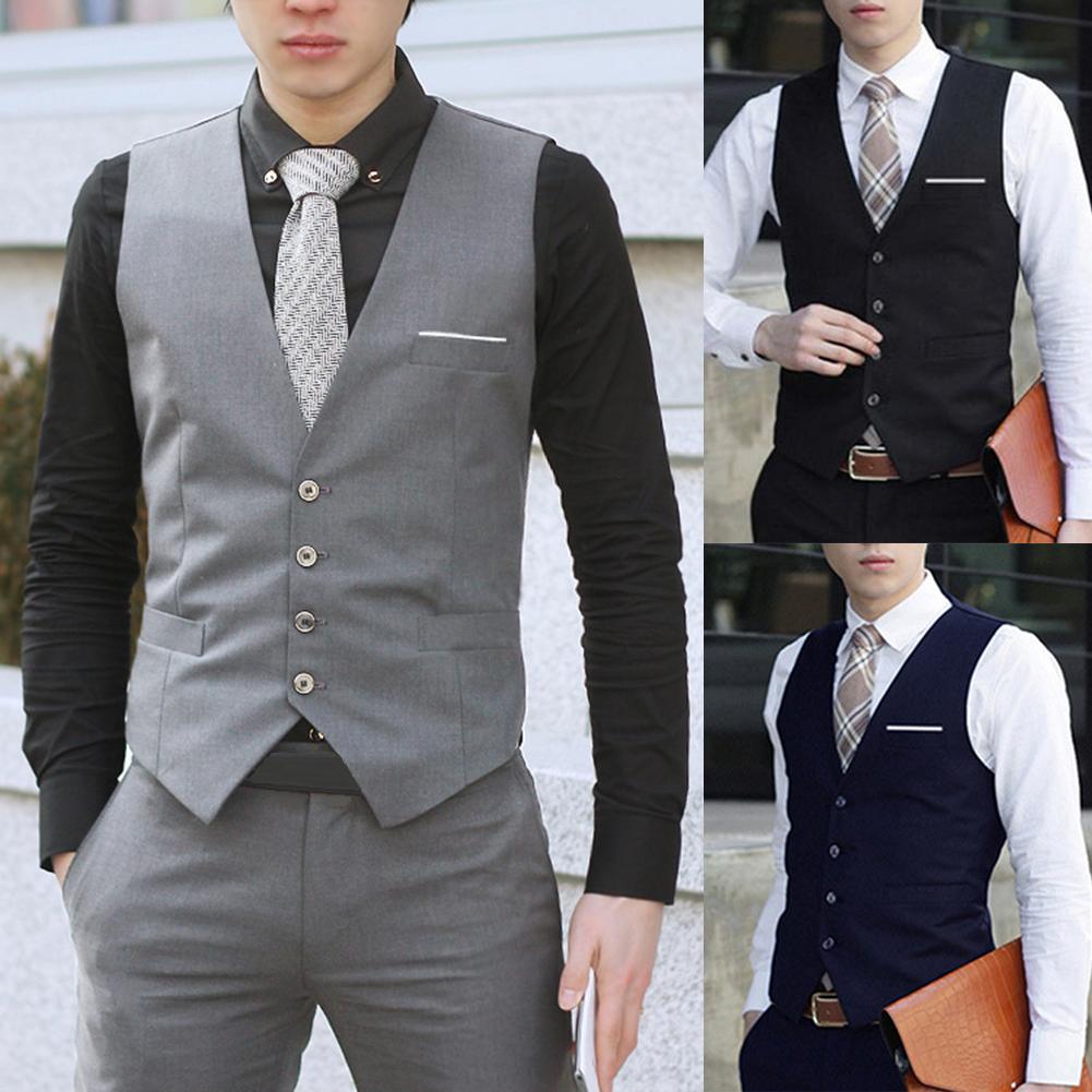 Business Men 4 Buttons V-Neck Sleeveless Waistcoat Working Wedding Vest Clothing Business Men Waistcoat Vest Men Waistcoat Waist