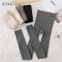 FINETOO Warm Women's Cotton Winter Leggings Ankle-Length Keep Warm Solid Pants High Waist Large Size Women Thick Slim Leggings