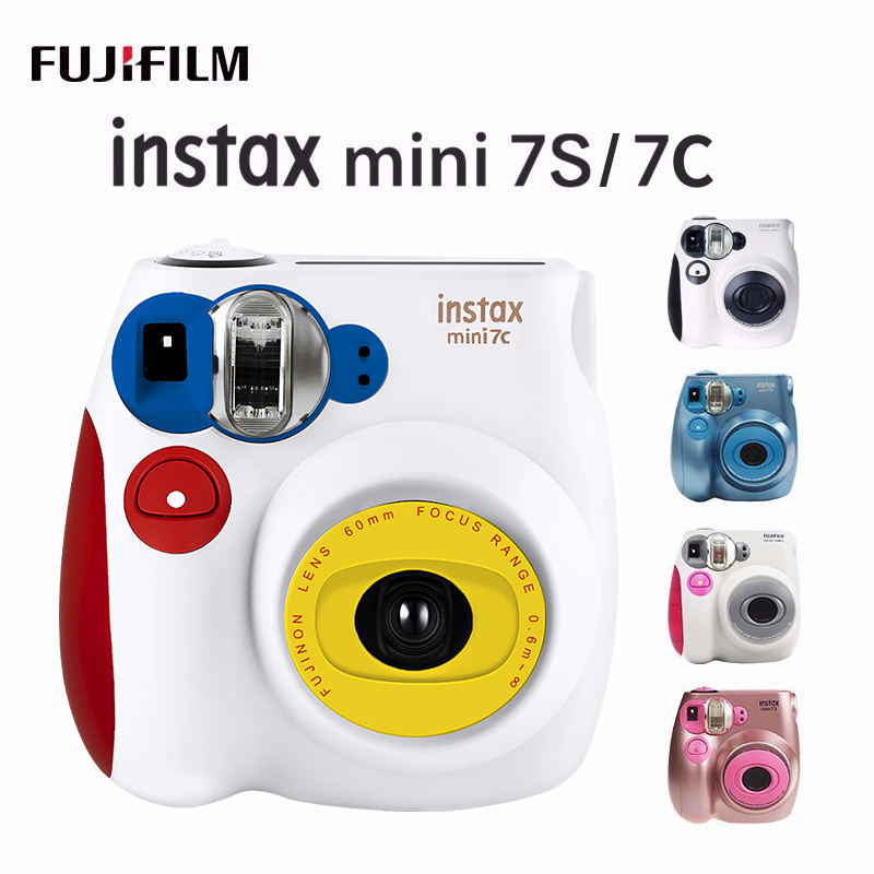 New Genuine Fujifilm Instax Mini 7C 7S Camera 6 Colors On Sale White Pink Blue Instant Printing Photo Film Snapshot Shooting