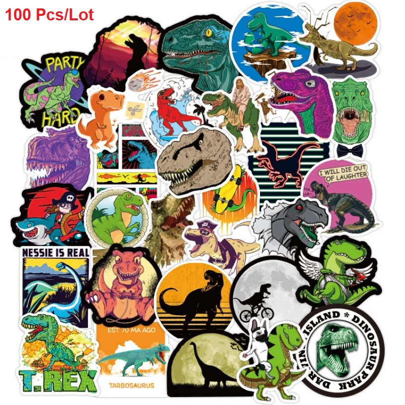 100 PCS/lot Fashion Waterproof Sticker For Phone Laptop Luggage Car <font><b>Guitar</b></font> Sports Music Movie Star dinosaur Boy Girl Sticker Toy image