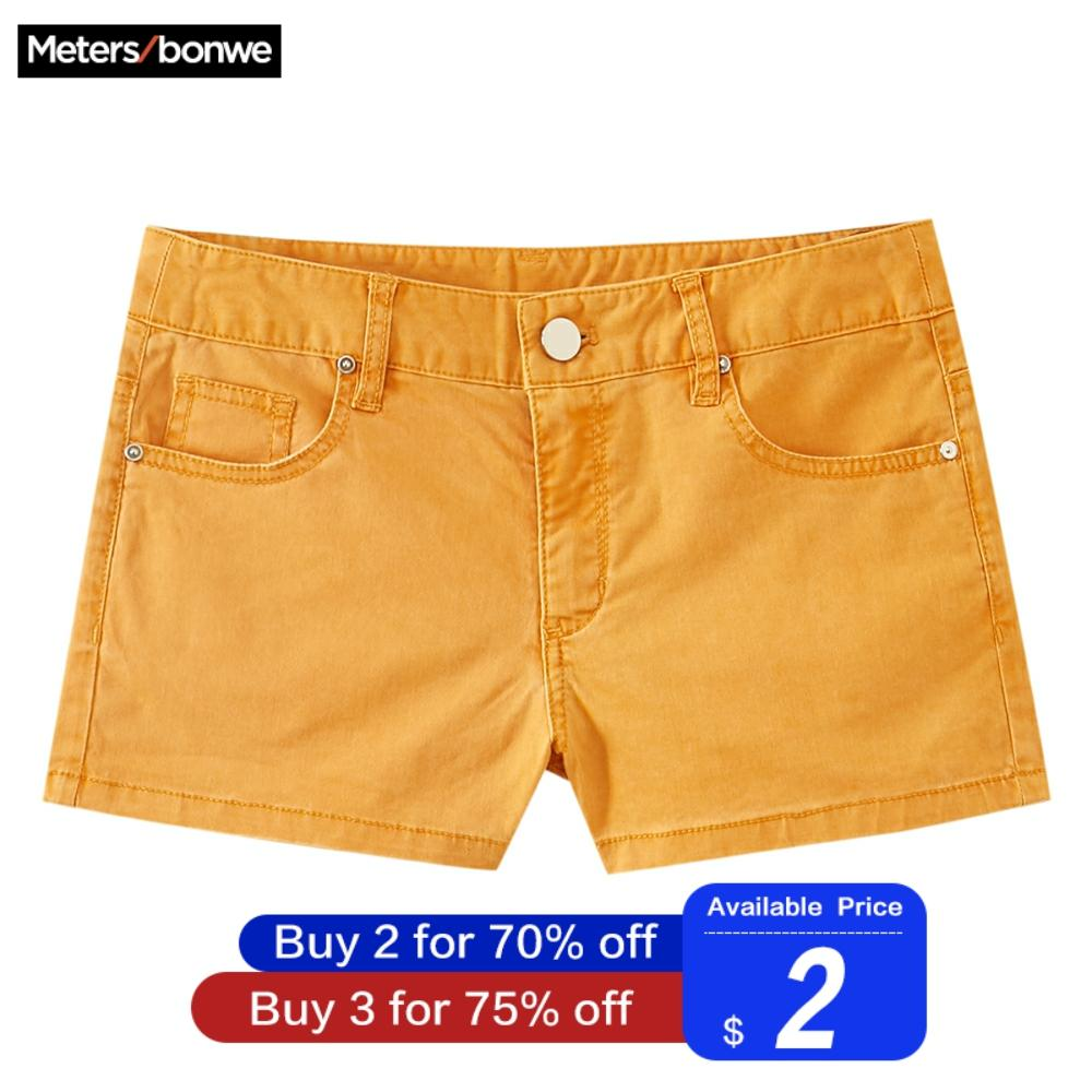 Metersbonwe Europe Multicolor Denim Shorts For Women 2019 New Brand Trendy Slim Casual Womens Sexy Low Waist Shorts
