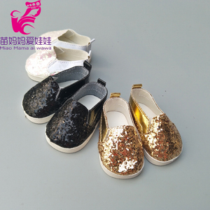 """Image 5 - Doll shoes for 43 cm new born baby Doll black white Prink Shoes For 18"""" Girls Doll shoes sneacker doll Accessories"""