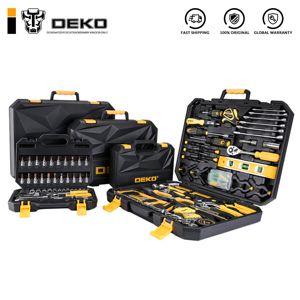 DEKO Hand Tool Set General Household Hand Tool Kit with Plastic Toolbox Storage Case Socket Wrench Screwdriver Knife(China)