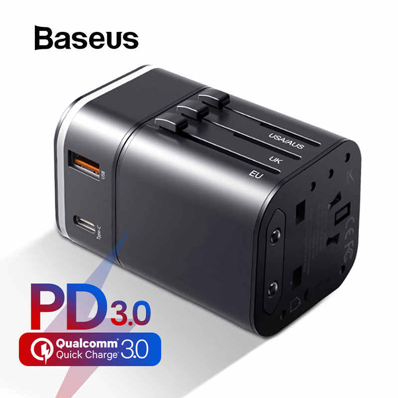 BASEUS 18W Quick Charge 3.0 USB Charger Travel ADAPTER PD3.0 Fast Charger Global Conversion Charger อะแดปเตอร์ทั่วโลก