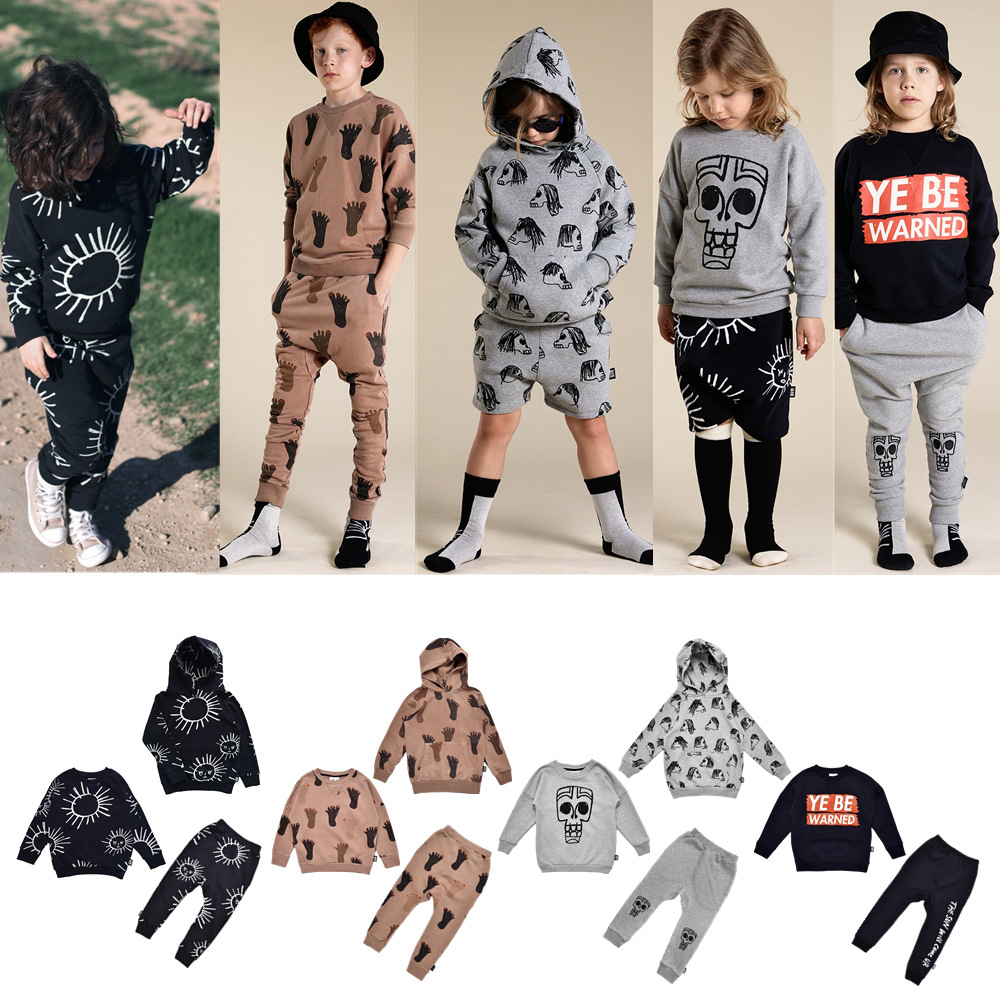 2021 Autumn Kids Clothes Little Man Happy Toddler Girl Sweatshirt Pants Thanksgiving Girls Christmas Outfit Baby Boys Outfits 1