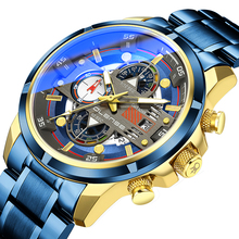 New Mens Watches Top Luxury Brand Business Blue Stainless Steel Quartz