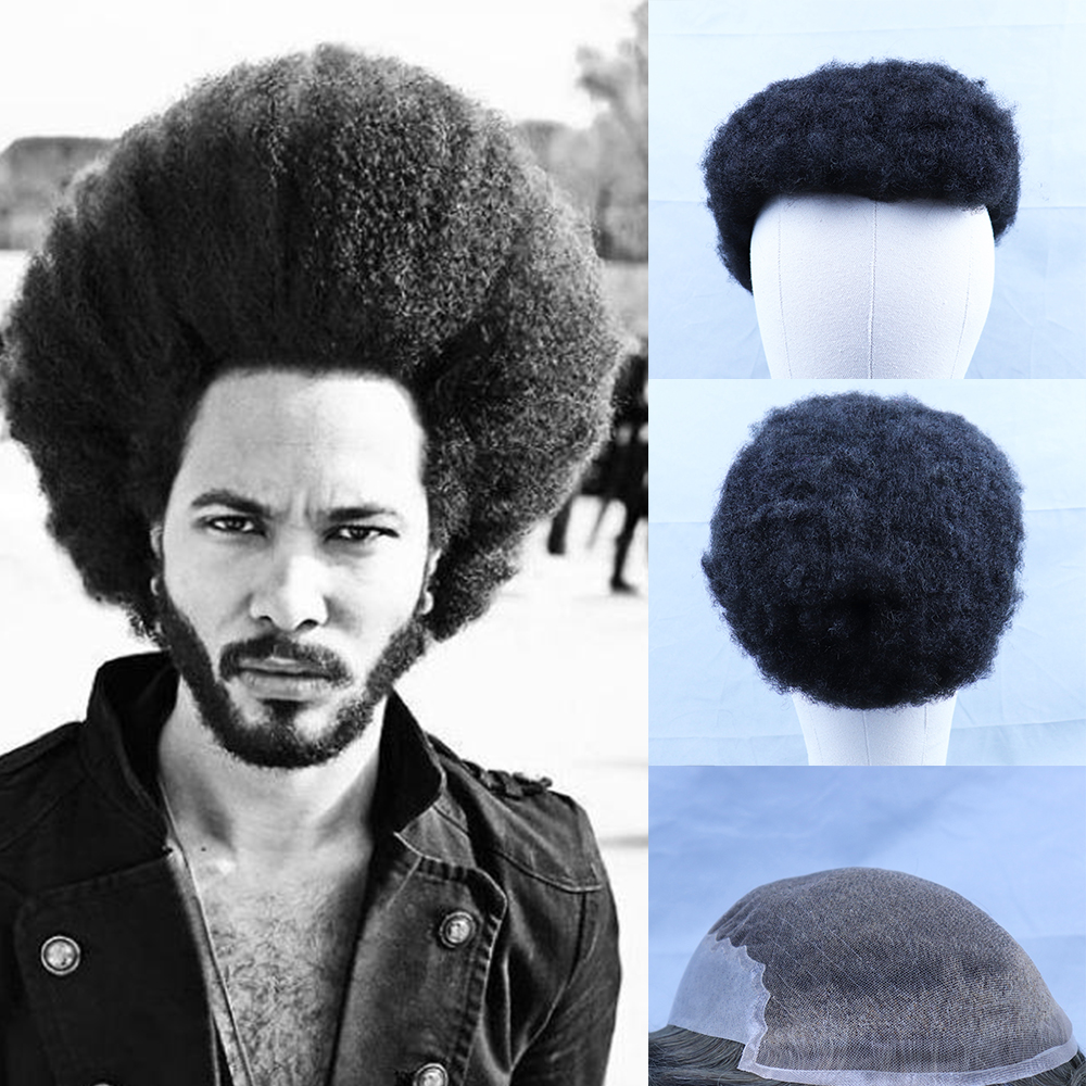 YY Wigs #1B Natural Black Afro Kinky Curly Human Hair Toupee For Men 8x10 Swiss Lace With PU Remy Hair Replacement System 6 Inch