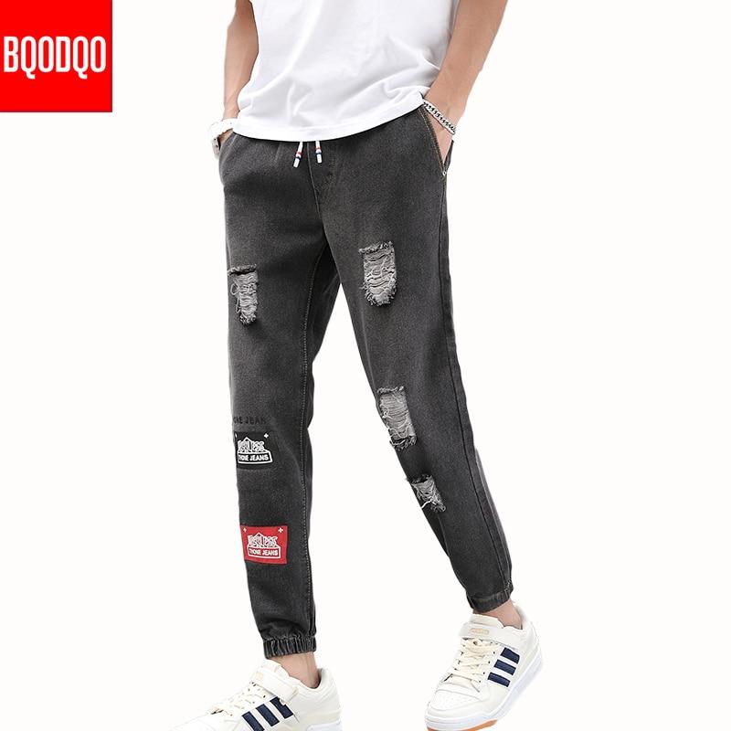 BQODQO Streetwear Denim Jeans Men Ripped For Mens Blue Baggy Hip Hop Pants Winter Brand Hole Skateboard Masculino Fashions Male