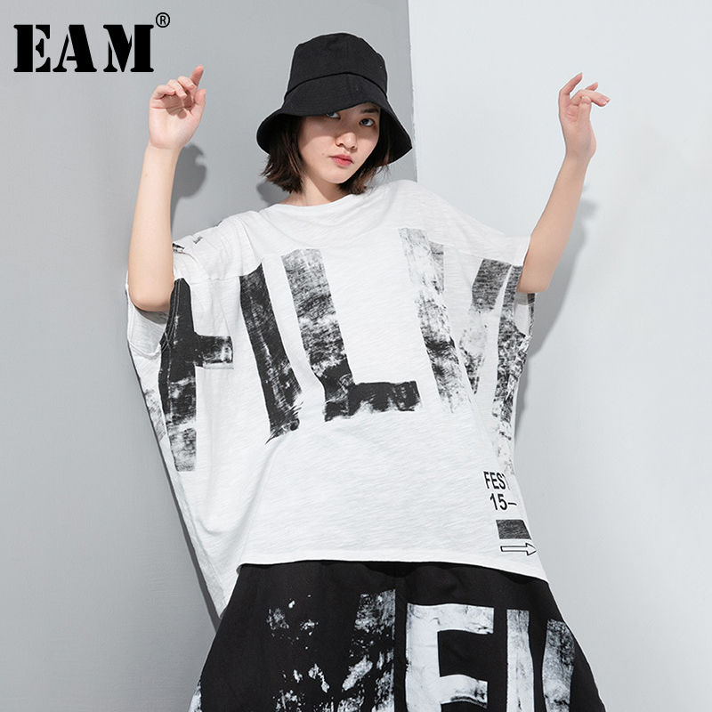 [EAM] Women White Pattern Printed Temperament Big Size T-shirt New Round Neck Half Sleeve Fashion Tide Spring Summer 2020 1U057