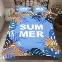 Duvet Cover Set Bedding Comforter Summer Tropical leaves Printed Bedroom Clothes with Pillowcases for Adult King Queen Size bedding clothes home textiles dream dark purple mandala printed duvet cover with pillowcases for adult queen double size