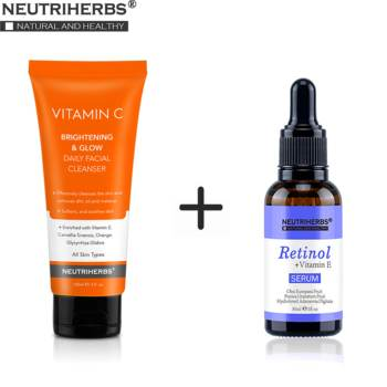 Neutriherbs Retinol Serum and Facial Cleanser Face Wash Cleaning Face Oil Clean up Acne Unclog Pores with Vitamin C