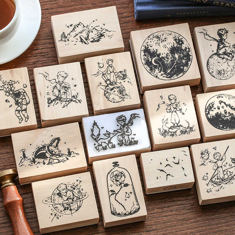 JIANWU karikatür sevimli küçük prens B612 ahşap kauçuk pullar el sanatları scrapbooking DIY mühür mermi dergisi malzemeleri kawaii