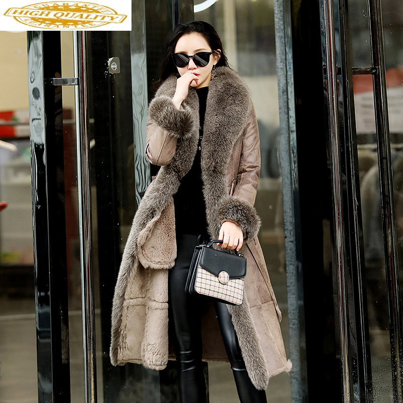 Real Fur Coat Female Natural Rabbit Fur Coats 2020 Winter Jacket Women Real Fox Fur Collar Luxury Leather Jackets MY3692