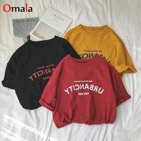 Femmes chemises 2020 été décontracté lettre imprimé t shirt harajuku ulzzang à manches courtes col rond basique t-shirts femmes vêtements hauts