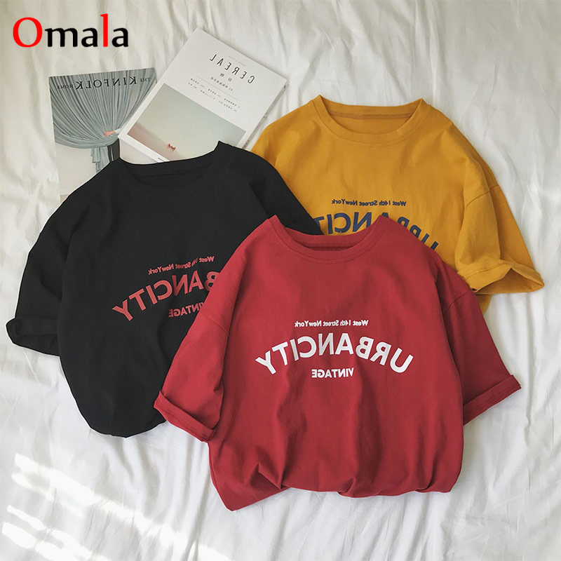 Women Shirts 2020 Summer Casual Letter Printed T Shirt Harajuku Ulzzang Short Sleeve O-neck Basic T-shirts Womens Clothing Tops