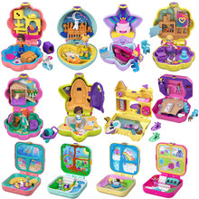 Original polly pocket doll bebê meninas brinquedos para meninas caixa de tesouro roupas para boneca brinquedos para crianças crianças brinquedos presente