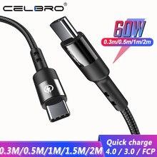 Cabo 60w pd de carregamento, 2 cores para huawei p40 p30 pro tablet usb tipo c para usb tipo c cabo de carregamento rápido para usbc cabo