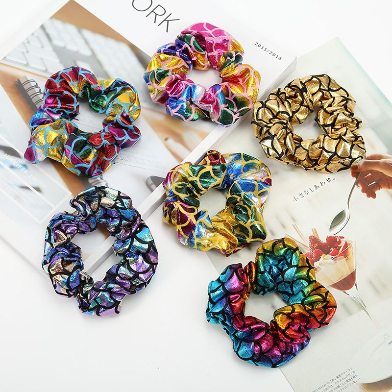 Mermaid Pattern Elastic Hair Scrunchies For Girls Women Shiny Hair Ties Ponytail Holder Hair Band Accessories New Arrivals