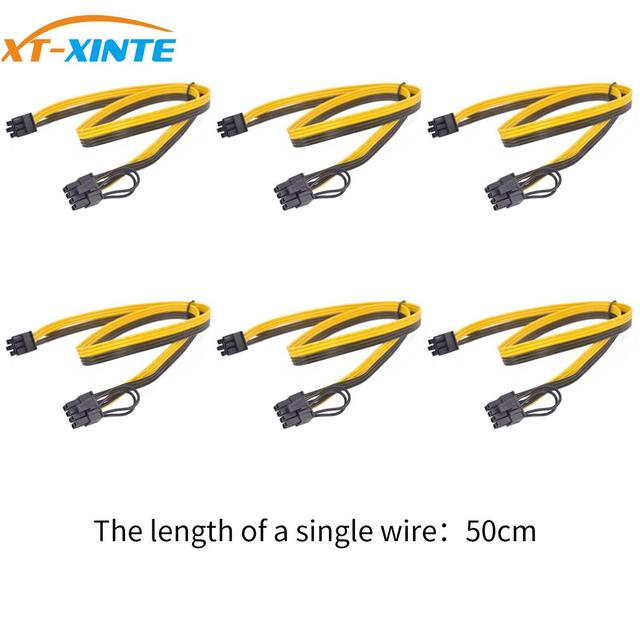 6PCS PCIe 6Pin to 6+2 Pin Power Supply Cable 8 pin to 6 Pin PCI Express Graphics Card Power Cable Male to Male Port