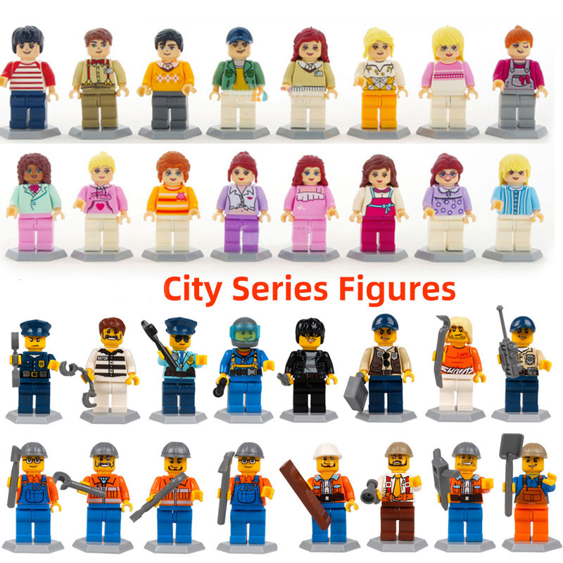 32pcs/lot Model Building Blcoks City Boy and Girl Figure sets Compatible legoingly Engineer policeman series for Children Toys image