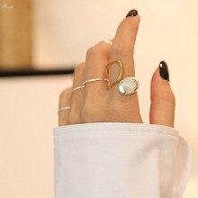 AOMU 1PC 2020 nuevo diseño Color geométrico Irregular retorcido anillos abiertos para las mujeres joyería ajustable