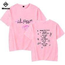 Mirecoo Men T shirts Lil Peep Printed Funny T-shirts Hip Hop Cotton Harajuku Fashion High Street Loose Clothes Top Tees