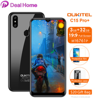 Oukitel C15 Pro + 19:9 6.088 ''물방울 화면 3GB 32GB MT6761 스마트 폰 안드로이드 9.0 지문 ID 4G LTE 휴대 전화
