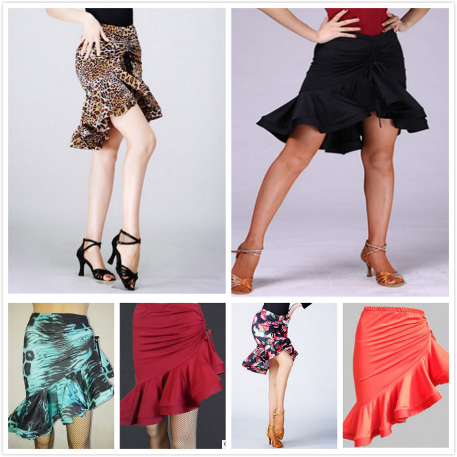 2020 Latin Fishtail Skirt For Female Adults Latin Practice Performance Dancing Costumes Half Length Print Skirt Sexy Tops Women