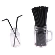 10/50/100pcs Drinking Straws Black Long Flexible Wedding Party Supplies Plastic Drinking Straws Kitchen Accessories 210mm