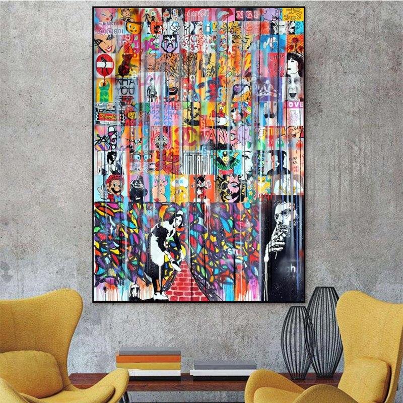 Colorido Graffiti abstracto Collage arte de pared póster imagen sobre lienzo impresiones divertido pintura decorativa obra de arte para sala de estar