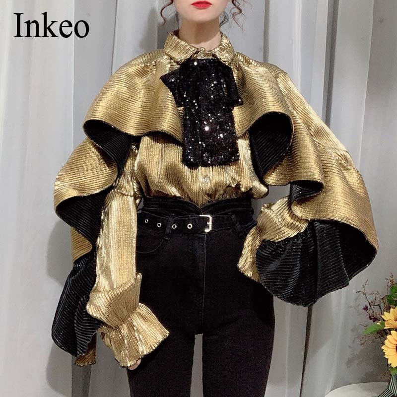 Fashion Ruffles Patchwork Women blouse shirt 2020 Spring Autumn Bow tie Long sleeve Female Top High strees Casual INKEO 9T092