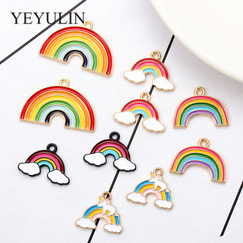 10 sztuk stopu emalia miłość Rainbow naszyjnik Charms ładny brelok wisiorek naszyjnik wisiorek dla kolczyki DIY akcesoria