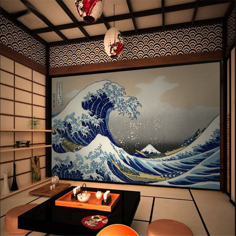 Japanese Ukiyo-e Big Waves HD Photo Wallpapers And Wind Background Wall Paper 3D For Japanese Cuisine Sushi Restaurant Decor