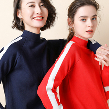 2019 Autumn And Winter new sweater women Half high collar pullover women Color matching Cashmere sweater Leisure knitted sweater leisure women s satchel with canvas and colour matching design