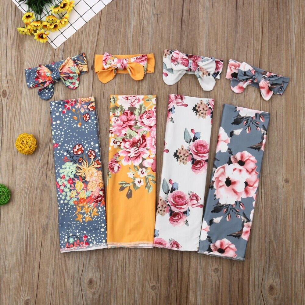 Newborn Baby Floral Swaddle Wrap Swaddling Blanket Headband Set