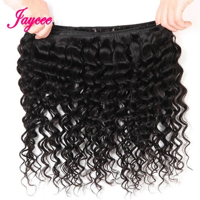 Brazilian Deep Wave Bundles With Closure 4*4 Tissages Bresilien Human Hair Extensions Brazilian Hair Weave Bundles with Closure 5