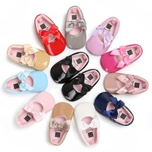 Baby Girl Shoes Ribbon Bow PU Leather Princess Baby