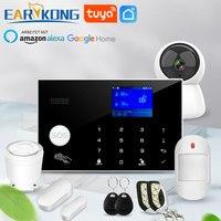 Sistema de alarma Wifi/GSM 433MHz antirrobo alarma de seguridad inalámbrico Detector de RFID teclado táctil temperatura humedad Alexa