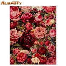 Ruopoty романтическая роза цветы diy живопись по номерам mordern