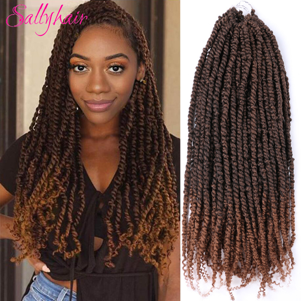 Sallyhair Passion Twist Hair Crochet Braids Hair Synthetic Ombre Pre looped Fluffy Spring Bomb Twists Braiding Hair Extension image