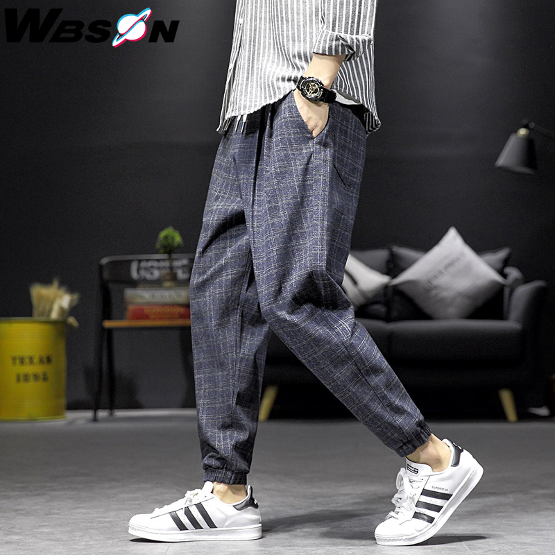 Wbson Fashion Brand Plaid Pants Legging Men Casual Ankle-Length  Loose Harem Pants Male Joggers Pants Men M-5XL DCG919