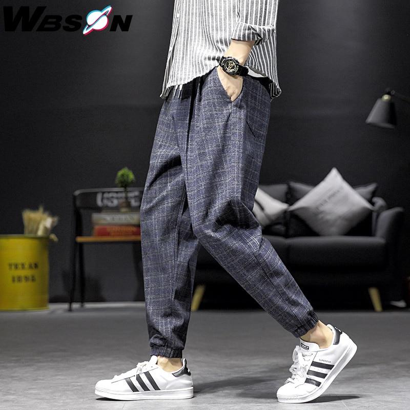 Wbson Fashion Brand Plaid Pants Legging Men Casual Ankle-Length  Loose Harem Pants Male Joggers Pants Men M-5XL DCG919