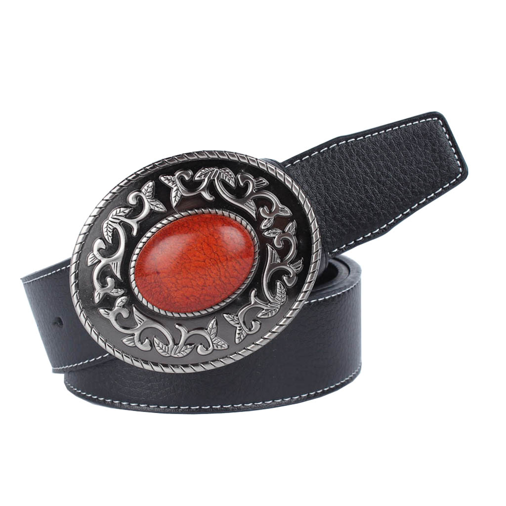 Men Women Pu Leather Belts Waistband Stap With Tang Grass And Ruby Buckle