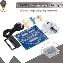 Kit electrónico DIY con forma de corazón, módulo LED RGB brillante colorido, luz de agua de amor STC89C52 51, microordenador de un solo Chip para Arduino