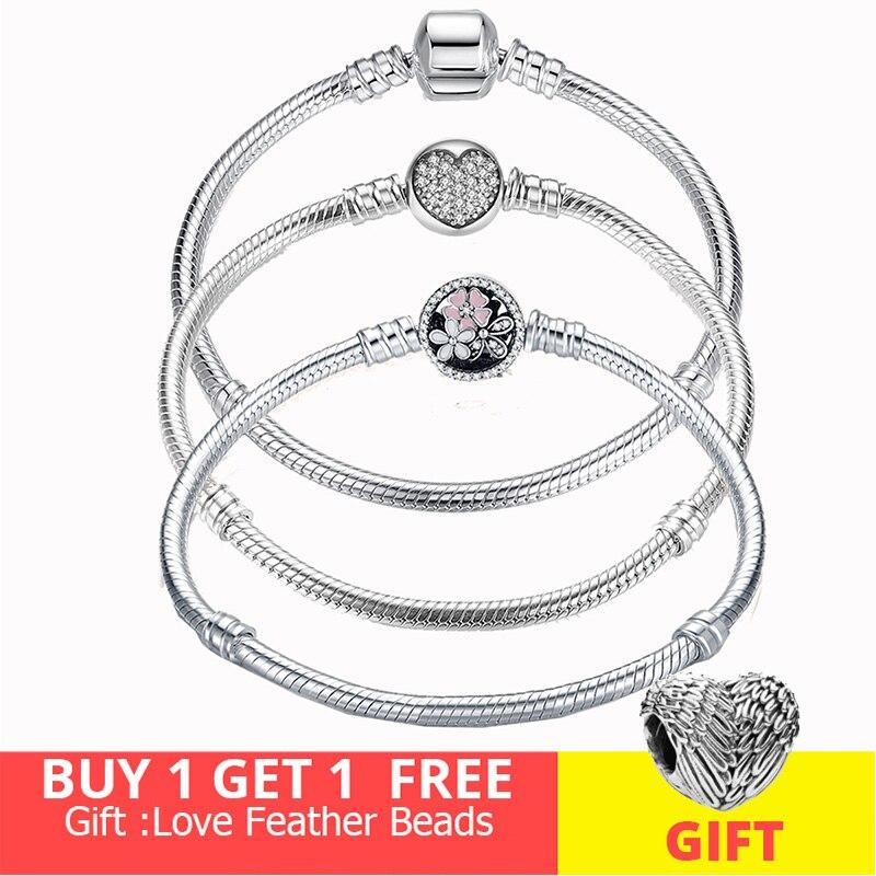 Heißer Verkauf 100% Echt Sterling Silber Armband Fit Original Design Perlen Charme Armreif DIY Schmuck Machen Geschenk Für Frauen