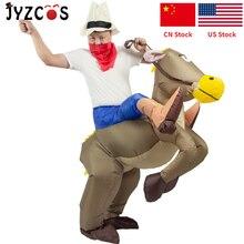 JYZCOS Disfraz inflable de caballo para hombre y mujer, disfraz de vaquero, Cosplay de Anime, fiesta de Halloween, disfraz de Carnaval