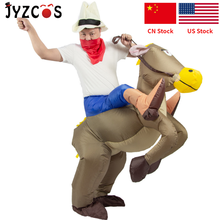 JYZCOS Inflatable Horse Costumes Cowboy Cosplay Anime Costume Halloween Party Costumes For Women Men Kids Purim Carnival Costume